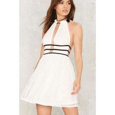 Nasty Gal Telltale Lines Lace Dress (£45) ❤ liked on Polyvore featuring dresses, white, white lace dress, white fit and flare dress, white halter top, white halter dress and lace fit-and-flare dresses