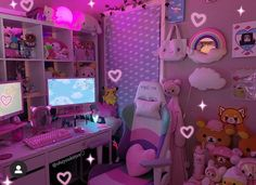 happy sunday♡⛅️💕 who is your favorite sanrio character? my tops are cinna, my melody, and pompom🍮 ♡ ♡ ♡ Girl Bedroom Designs, Room Ideas Bedroom, Small Room Bedroom, Cute Room Ideas, Cute Room Decor, Ideas Decorar Habitacion, Kawaii Bedroom, Gaming Room Setup, Video Game Rooms