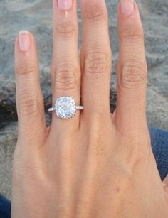 2.54 carats cushion cut halo engagement ring with micro-pave petite band, size 4… want