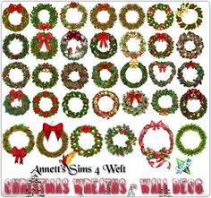 Sims 4 CC's - The Best: Christmas Wreaths - Wall & Doors & Windows Deco by...