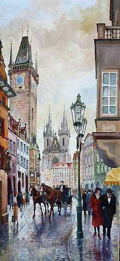 Prague Old Town Square 01 Yuriy Shevchuk Art. Prague Old Town, Landscape Drawings, Landscapes, Art Watercolor, Old Town Square, City Scene, City Art, Beautiful Paintings, Lovers Art
