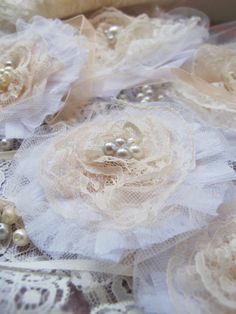 shabby chic lace and pearls flower brooch - Etsy