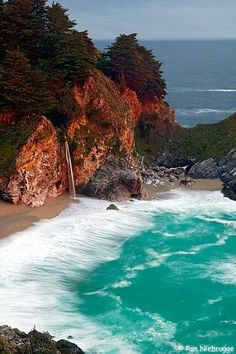 McWay Creek Falls, Big Sur, California - see more Travel Pinspiration here: http://www.ytravelblog.com/travel-pinspiration-california/