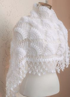 Inspiration - this is a retail product that has been sold - White Bridal ShawlBridal Shrug Crochet Shawl Bridal por MODAcrochet Wedding shawl bridal shrug crochet shawl bridal bolero bridal shawl bridal wrap bridal cover up winter wedding shawls and wraps Gilet Crochet, Crochet Shawl, Ravelry Crochet, Easy Knitting Patterns, Knitting Designs, Winter Wedding Shawl, Wedding Shawls, Pink Shawl, White Shawl