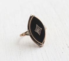 Antique 10K Yellow Gold Onyx Black Stone & Diamond Ring - 1930s Size 5 1/2 Art Deco Marquise Fine Jewelry / White Gold Accents