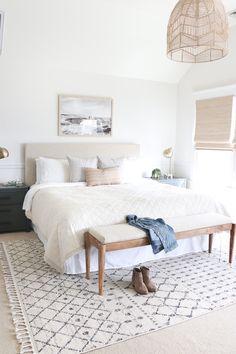 Casual Hamptons Master Bedroom Reveal-The Look For Less modern coastal bedroom, neutral bedroom deco Neutral Bedroom Decor, Coastal Master Bedroom, Coastal Bedrooms, Master Bedroom Design, Home Decor Bedroom, Hamptons Bedroom, Bedroom Ideas, Bedroom Designs, Master Suite