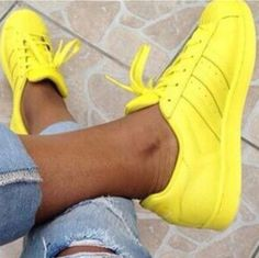 """Adidas"" Fashion Shell-toe Flats Sneakers Sport Shoes Pure color Yellow from Summer11. Saved to Sneaker head. #fav."