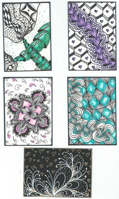 Zentangle ATCs with a touch of color by Cathy Wilson