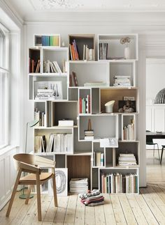 Scandinavian Bookcases and Shelving Units via Muuto Stacked System Scandinavian Interior Design, Scandinavian Home, Living Room Quotes, Living Room Decor, Unique Shelves, Dream Decor, Wall Shelves, Glass Shelves, Home Libraries