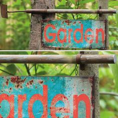 """Rustic """"Garden"""" Sign With Hoe"""