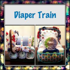 """Diaper train I made for a """"planes, trains & automobiles"""" themed baby shower! :)"""