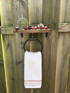 Hand Towel Ring with Shelf Bathroom Decor Organizer Wooden Bar Shelves, Wooden Wall Shelves, Wooden Rack, Wood Floating Shelves, Shelf, Galvanized Pipe Shelves, Rustic Bathroom Wall Decor, Towel Display, Towel Rack Bathroom