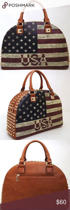 Vintage American flag rhinestone brown handbag Approximate Size: L 14.5 * H 11 * W 6 (D) Designer inspired Handbag Faux Leather Zip top closure Gold-tone hardware Detachable shoulder strap Fully lined interior includes inside zippered pocket & cell phone pouch Virtuous Designs Bags Totes