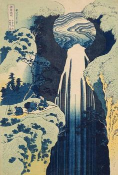 """""""Deze prachtige oude woodblock print genaamd 'A Tour of Japanese Waterfalls' van de kunstenaar Katsushika Hokusai is een andere grote inspiratiebron voor mij."""""""