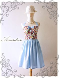 Hidden Land Blue Floral and Butterfly Blue Dress by Amordress, $54.50