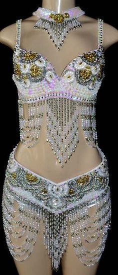 Iridescent White, Silver and Gold Dance Costume