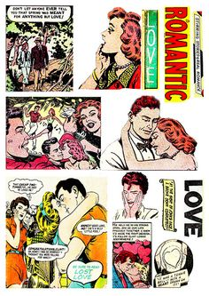 FREE TO USE - Comic Romance - Digital Collage Sheet
