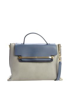 Chloe marshmallow grey leather front flap convertible tote bag
