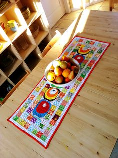 bright, colorful table runner
