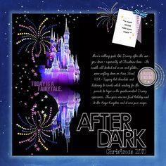 Disney Scrapbook Page Layout - Cinderella's Castle at Night by Sharon (actually two photos ... one of the castle and one of it's reflection in the water)!
