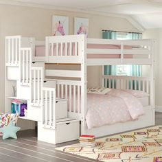 Harriet Bee Tena Full Over Full Stairway Bunk Bed with Drawers Bed Frame Color: White Bunk Beds For Girls Room, Bunk Bed Rooms, Loft Bunk Beds, Bunk Bed With Trundle, Full Bunk Beds, Kid Beds, Kids Bedroom, Full Bed, Cool Rooms For Girls