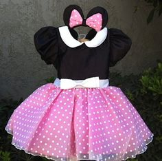Pink Minnie Mouse dress set by CNLChildrensApparel on Etsy
