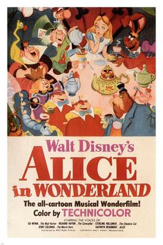 Walt-Disney-039-s-Alice-in-Wonderland-MOVIE-POSTER-1951-24X36-VINTAGE-CARTOON-VY1
