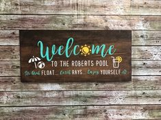 Excited to share this item from my shop: Welcome - Pool Sign Backyard Signs, Patio Signs, Backyard Pool Landscaping, Outdoor Signs, Porch Signs, Swimming Pool Signs, Swimming Pools, Lap Pools, Indoor Pools