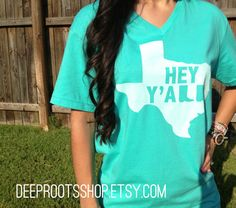 Texas Hey Y'all Adult Shirt by DeepRootsShop, $20.00