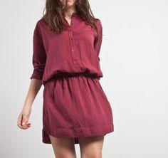 Vestido camisero cintura elástica granate #otoño #autumn #fall #dress #vestido