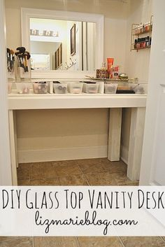 Making this DIY Glass Top Vanity Desk - Directions on how to make your own at lizmarieblog.com