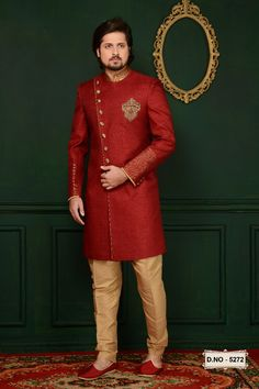 We offer a Huge sherwani collection including wedding Sherwani, jodhpuri,sangeet, traditional, Indian Sherwani and many more. Choose latest shervani designs to buy sherwani online & look the best at any occasion. Kurta Men, Mens Sherwani, Wedding Sherwani, Wedding Dress Men, Indian Wedding Outfits, Wedding Men, Ethnic Dress, Indian Ethnic Wear, Womens Clothing Stores
