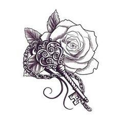 Pretty tattoo key tattoos, rose tattoos, flower tattoos with names, sleeve Tigh Tattoo, Hawaiianisches Tattoo, Herz Tattoo, Key Tattoos, Mandala Tattoo, Rose Tattoos, Flower Tattoos, Body Art Tattoos, Wrist Tattoo