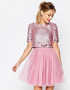 ASOS SALON Crystal Crop Top Tutu Netted Mini Skater Dress
