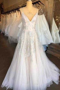 V-neck prom dress, white lace tulle prom dress, long prom dress with straps