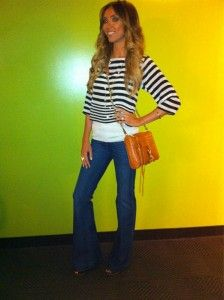 Wide leg pants and easy striped sweater!