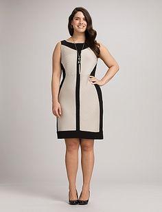 Plus Size Two-Tone Colorblock Sheath Dress