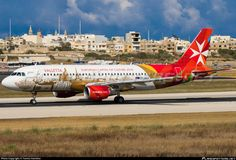 Air Malta Airbus A320-214 9H-AEO aircraft, named ''Isla Cita Invicta'' painted in  ''Valetta- European Capital of Culture 2018 special colours Mar. 2012'', skating at Malta Luqa International Airport. 01/05/2016.