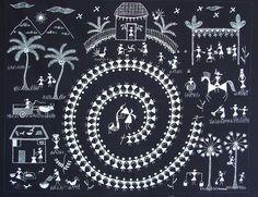 A Warli Painting, depicting the Tarpa Dance Tribal Pattern Art, Tribal Art, Madhubani Art, Madhubani Painting, Traditional Paintings, Traditional Art, Worli Painting, Indian Arts And Crafts, Indian Folk Art