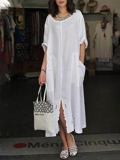 Fashion women Baggy Dresses To Add To Your Wardrobe Baggy Dresses, Linen Dresses, Casual Dresses, Casual Outfits, Dresses With Sleeves, Casual Clothes, Boho Fashion, Fashion Dresses, Womens Fashion
