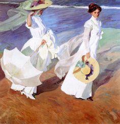 Promenade en bord de la mer, Joaquin Sorolla, 1909