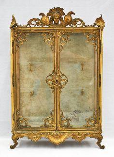 French Dore Bronze Rococo Miniature Curio Cabinet Gilt bronze body with glass shelves. Rococo Furniture, French Furniture, Miniature Furniture, Rustic Furniture, Luxury Furniture, Vintage Furniture, Painted Furniture, Pallet Furniture, Painted Armoire