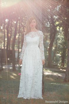 Ivory 50s Wedding Dress Lace Bridal Gown Long Bridal Dress Lond Sleeve Gown - Handmade Wedding Dress by SuzannaM Designs on Etsy, 965,00€