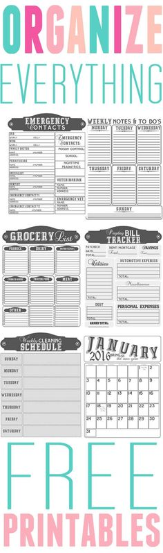 Organization: Free Printables to help you organize every aspect of your life…