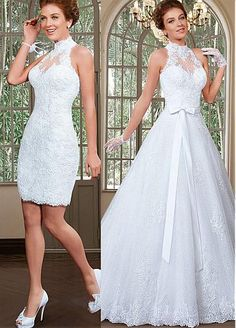 66c1460f2  278.39  Fabulous Tulle High Collar Neckline 2 in 1 Wedding Dresses with  Beaded Lace Appliques. Vestidos De Novia ...