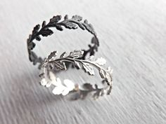 Oak leaf ring Leaf eternity ring silver Lace silver by CrazyAssJD