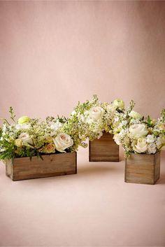 Wooden Box Planters. 10 Flower Box Centerpieces on @intimatewedding Photo by @BHLDN #BHLDN #weddingflowers #flowerbox