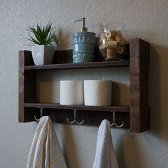 Handmade bathroom shelf with nickel finish towel hooks. A perfect addition to any home bathroom, apartment, or country cottage.  Made from solid wood.