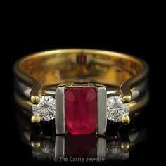 Emerald Cut 3 Stone Ruby Ring with Two Diamond Accents .33cttw Set in 14k Yellow Gold - The Castle Jewelry  - 1