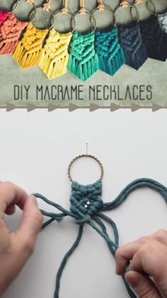 Girls can be quite fashionable and fashionable by picking Macrame Wall Hanging Diy, Macrame Art, Macrame Projects, Macrame Jewelry, Macrame Necklace, Macrame Knots, Diy Jewelry, Yarn Necklace, Jewelry Knots